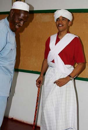 Obama in an indigenous Kenyan attire